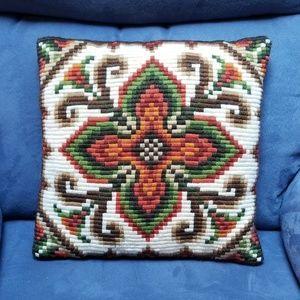 Vintage Mid-Century Crewel Throw Pillow